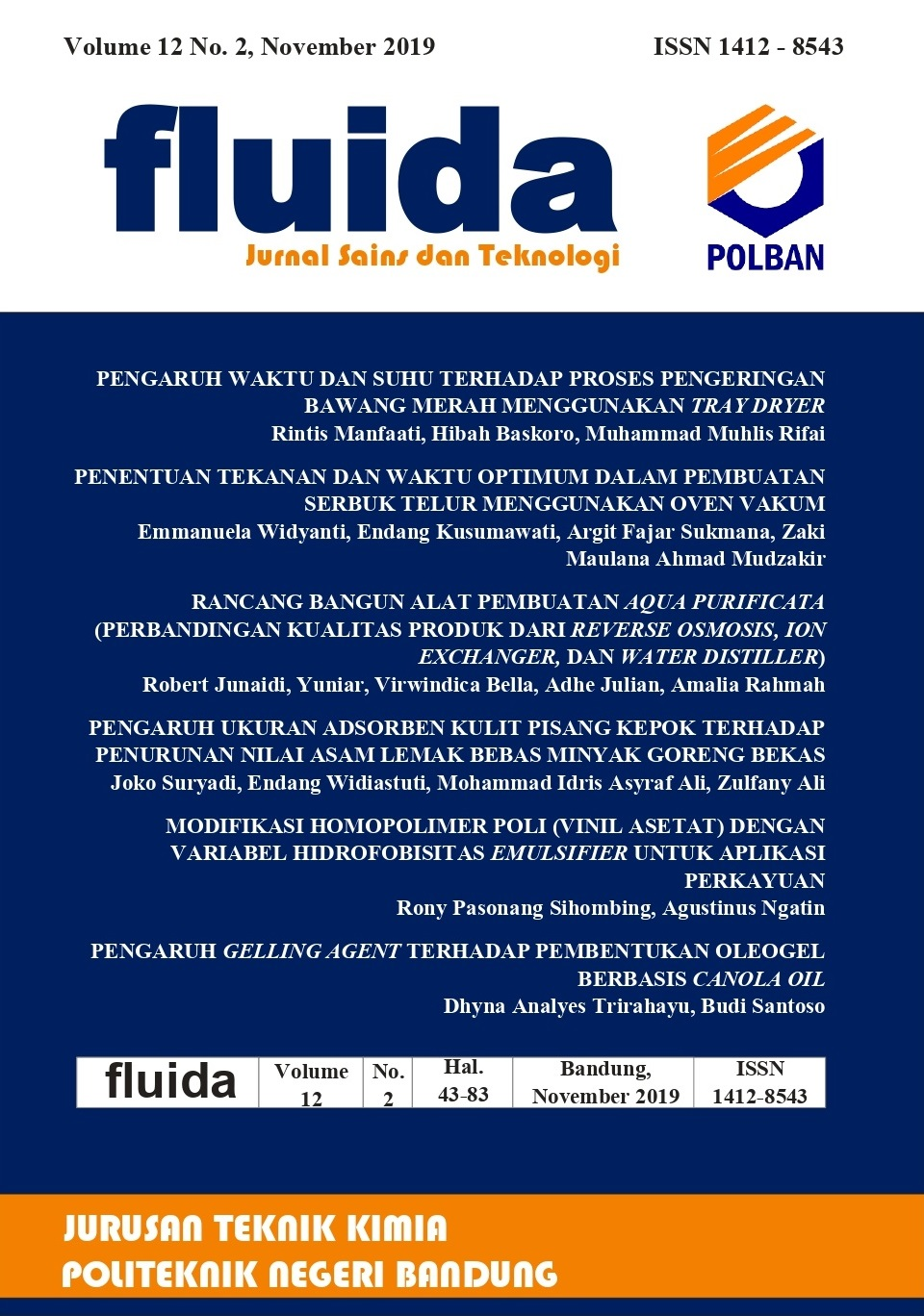 FLUIDA: Jurnal Sains dan Teknologi Volume 12 No. 2, November 2019
